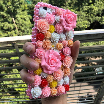 İPhone 7 6 6 Plus 5 5S 5C Samsung Galaxy İçin Elmas Hard Case Bling Girly Pembe Çiçekler 7 3. 4. 5 S7 S6'yı Edge Plus S5/4/3 A8 Not